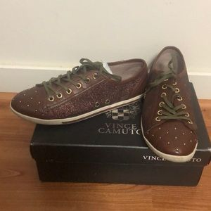 Vince Vamuto Glitter Leather Sneakers  7.5
